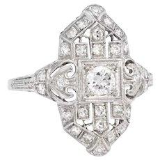 Vintage Art Deco Diamond Platinum Cocktail Ring Estate Fine Jewelry Heirloom