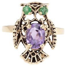 Owl Cocktail Ring Vintage Amethyst Emerald 14 Karat Yellow Gold Estate Fine Jewelry