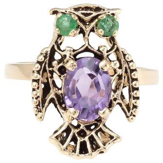 Owl Cocktail Ring Vintage Amethyst Emerald 14 Karat Yellow Gold Estate Fine Jewelry
