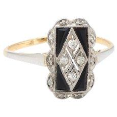 Vintage Art Deco Diamond Onyx Cocktail Ring 18 Karat Gold Platinum Estate Jewelry 7