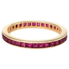 Square Cut Ruby Eternity Ring Sz 6.25 Vintage 14 Karat Yellow Gold Estate Fine Jewelry