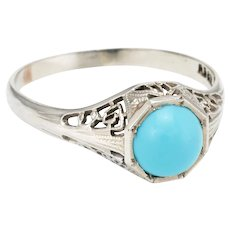 Vintage Art Deco Turquoise Filigree Ring 14 Karat White Gold Estate Fine Jewelry