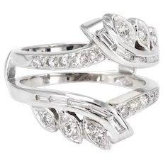 Mixed Cut Diamond Wedding Ring Guard Wrap Vintage 14 Karat White Gold Estate 7.5