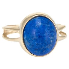 Sodalite Cocktail Ring Vintage 10 Karat Yellow Gold Estate Fine Jewelry Pre Owned 6