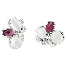 Moonstone Garnet Diamond Cluster Earrings Estate 14 Karat White Gold Fine Vintage
