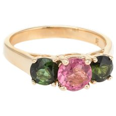3 Stone Pink & Green Tourmaline Ring Vintage 14 Karat Yellow Gold Estate Fine Jewelry