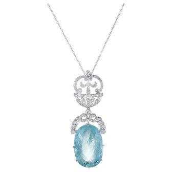 Aquamarine Diamond Necklace Vintage 14 Karat White Gold Estate Fine Jewelry