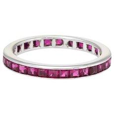 Ruby Eternity Ring Sz 5.5 Estate 14 Karat White Gold Fine Vintage Jewelry Pre Owned
