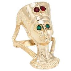 Nefertiti Bust Ring Vintage 14 Karat Yellow Gold Egyptian Jewelry Estate Fine Sz 7