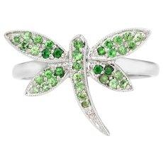 Dragonfly Ring Tsavorite Green Garnet Estate 14 Karat White Gold Fine Jewelry Sz 7