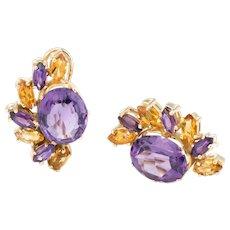 Citrine Amethyst Half Moon Earrings Vintage 14 Karat Yellow Gold Estate Fine Jewelry