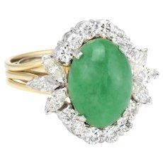 Jade Diamond Princess Cocktail Ring Vintage 18 Karat Yellow Gold Estate Fine Jewelry