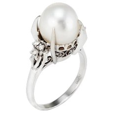 Cultured Tahitian Pearl Diamond Cocktail Ring Vintage Platinum Estate Jewelry