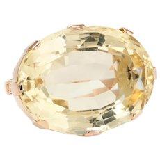 East West Citrine Cocktail Ring Vintage 10 Karat Rose Gold Estate Fine Jewelry
