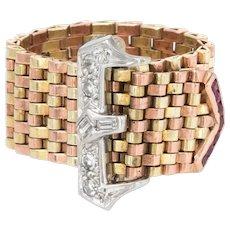 Retro Ruby Diamond Belt Buckle Ring Adjustable Vintage 14 Karat Rose Yellow Gold