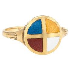 Nautical Enamel Ring Vintage 18 Karat Yellow Gold Estate Fine Jewelry Pre Owned