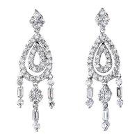 Diamond Chandelier Earrings Estate 18 Karat White Gold Fringe Drops Vintage Jewelry