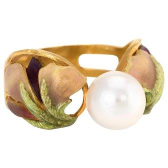 Masriera Cultured Pearl Enamel Ring Estate 18 Karat Yellow Gold Fine Jewelry Spain