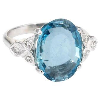 Santa Maria Aquamarine Diamond Cocktail Ring Vintage 14 Karat White Gold Estate