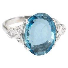 5.50ct Santa Maria Aquamarine Diamond Cocktail Ring Vintage 14 Karat White Gold