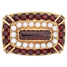 East West Garnet Seed Pearl Cocktail Ring Vintage 18 Karat Yellow Gold Estate Jewelry