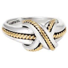 Tiffany & Co Signature X Cross Ring Vintage Sterling Silver 18 Karat Gold Estate Fine