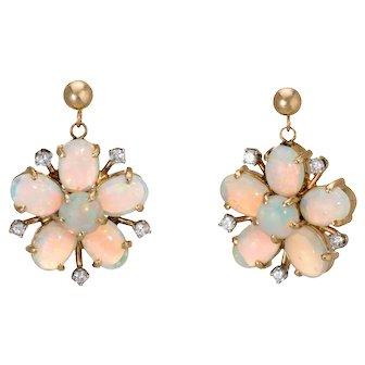 Fiery Opal Diamond Earrings Forget Me Not Vintage 14 Karat Yellow Gold Jewelry