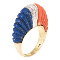 Fluted Coral Lapis Lazuli Diamond Dome Ring Vintage 14 Karat Yellow Gold Estate Fine