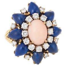 1960s Coral Lapis Diamond Cocktail Ring Vintage 14 Karat Yellow Gold Estate Jewelry
