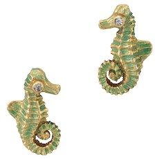 Seahorse Diamond Earrings Vintage 18 Karat Yellow Gold Green Enamel Estate Ocean