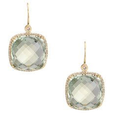 Prasiolite Diamond Square Earrings Estate 14 Karat Yellow Gold Fine