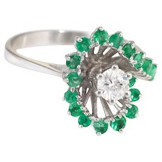 Emerald Diamond Cocktail Ring Vintage 14k White Gold Estate Fine Jewelry 6.5