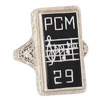 Vintage Art Deco Music Sheet Ring 14 Karat White Gold Onyx Estate Fine Jewelry