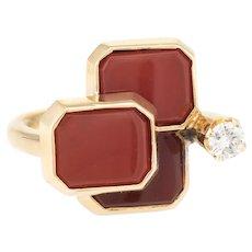 1970s Carnelian Diamond Cocktail Ring Vintage 14 Karat Yellow Gold Estate Jewelry