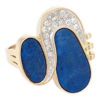 70s Lapis Lazuli Diamond Cocktail Ring Vintage 14 Karat Yellow Gold Estate Jewelry