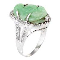 Carved Jade Frog Cocktail Ring Diamond Vintage 18 Karat White Gold Jewelry