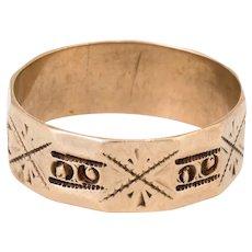 Antique Victorian Embossed Wedding Band Ring Vintage 14 Karat Rose Gold Sz 7.25