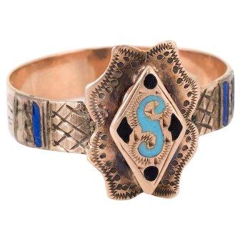 Antique Victorian Letter S Enamel Initial Ring Vintage 10 Karat Rose Gold Jewelry