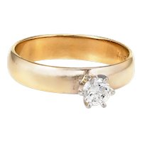 Diamond Engagement Ring Vintage 14 Karat Yellow Gold Estate Fine Jewelry Sz 5.5