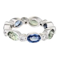Colored Sapphire Diamond Eternity Ring Sz 5.25 Vintage 18 Karat White Gold Jewelry