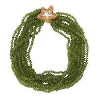 Peridot Multi Strand Necklace Starfish Clasp Vintage 18 Karat Gold Estate Jewelry