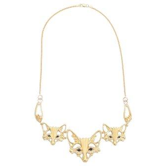 Three Fox Necklace Diamond Sapphire Vintage 14 Karat Yellow Gold Estate Jewelry