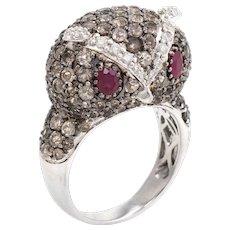 Owl Cocktail Ring Estate 14 Karat White Gold Diamond Ruby Quartz Vintage Jewelry