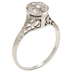 Belais Round Diamond Cluster Ring Vintage 18 Karat White Gold Estate Fine Jewelry