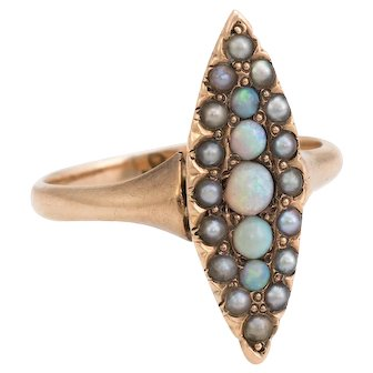Antique Victorian Navette Pinky Ring Opal Seed Pearls Vintage 14 Karat Yellow Gold