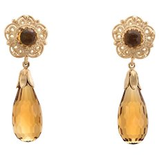 Citrine Pendant Drop Earrings Vintage 14 Karat Yellow Gold Estate Fine Jewelry