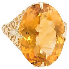 Large Oval Citrine Filigree Cocktail Ring Estate 10 Karat Yellow Gold Fine Jewelry