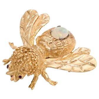 Bumble Bee Brooch Pin Opal Garnet Vintage 14 Karat Yellow Gold Estate Insect Jewelry