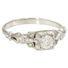 Antique Deco Diamond Ring Vintage 14 Karat White Gold Estate Fine Jewelry Pre Owned