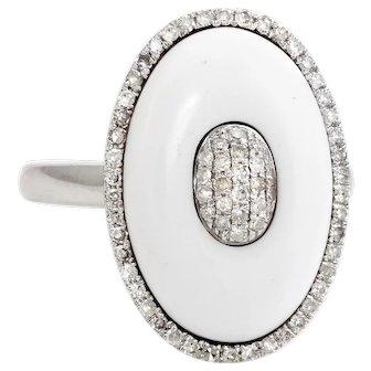 White Ceramic Pave Diamond Oval Cocktail Ring Estate 14 Karat Gold Estate Jewelry